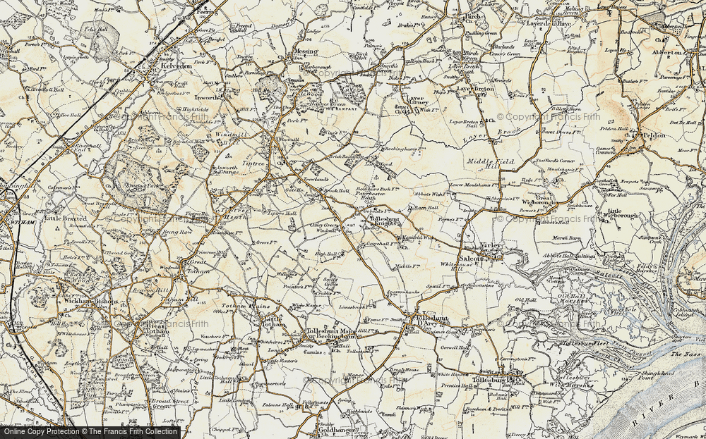 Old Map of Tolleshunt Knights, 1898-1899 in 1898-1899