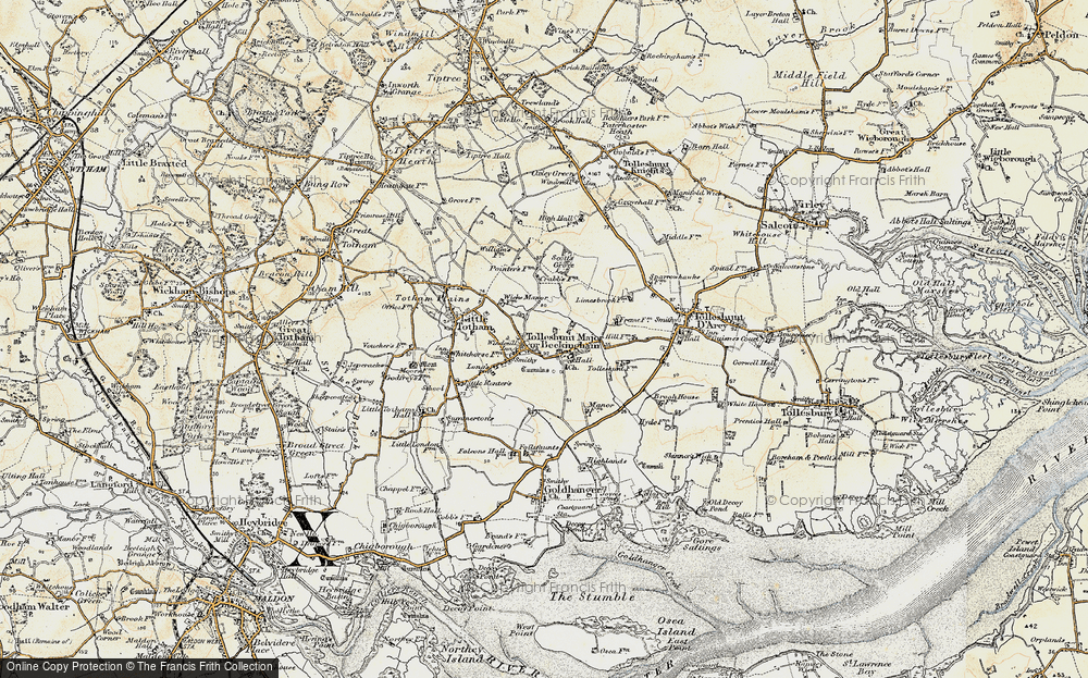 Old Map of Tolleshunt Major, 1898 in 1898