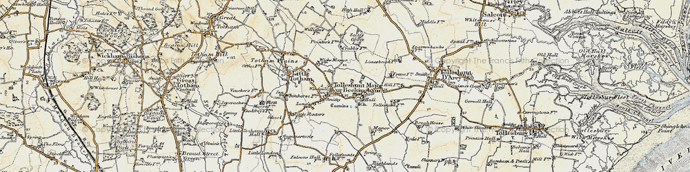 Old map of Tolleshunt Major in 1898