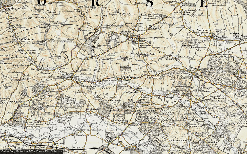 Old Map of Tolpuddle, 1897-1909 in 1897-1909