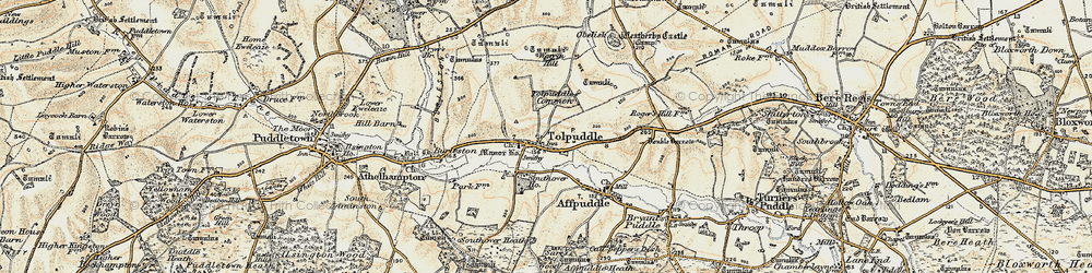 Old map of Tolpuddle in 1897-1909