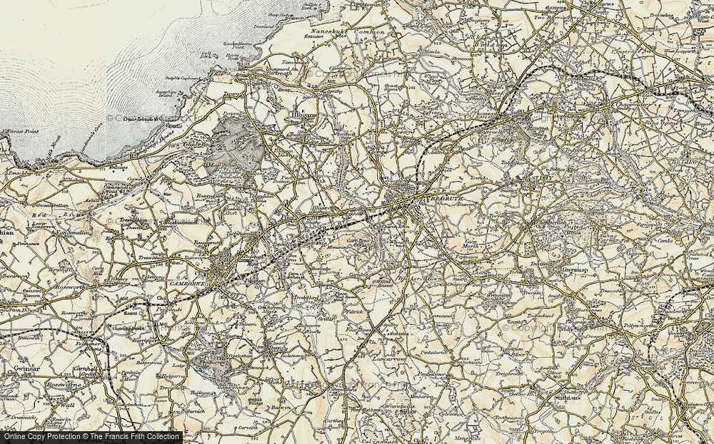 Old Map of Tolskithy, 1900 in 1900