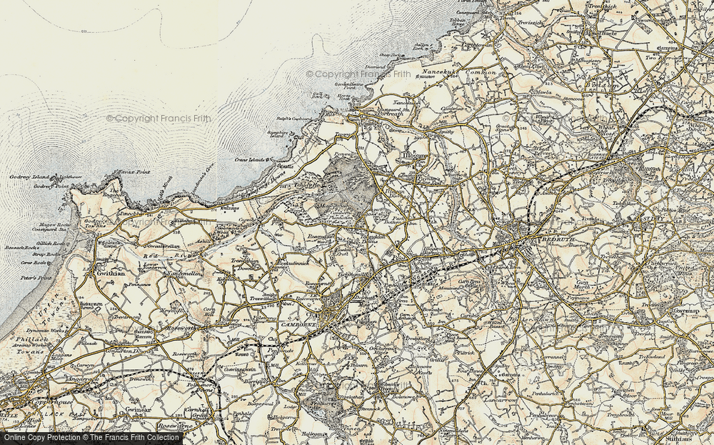 Old Map of Tolvaddon Downs, 1900 in 1900