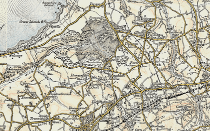 Old map of Tolvaddon Downs in 1900