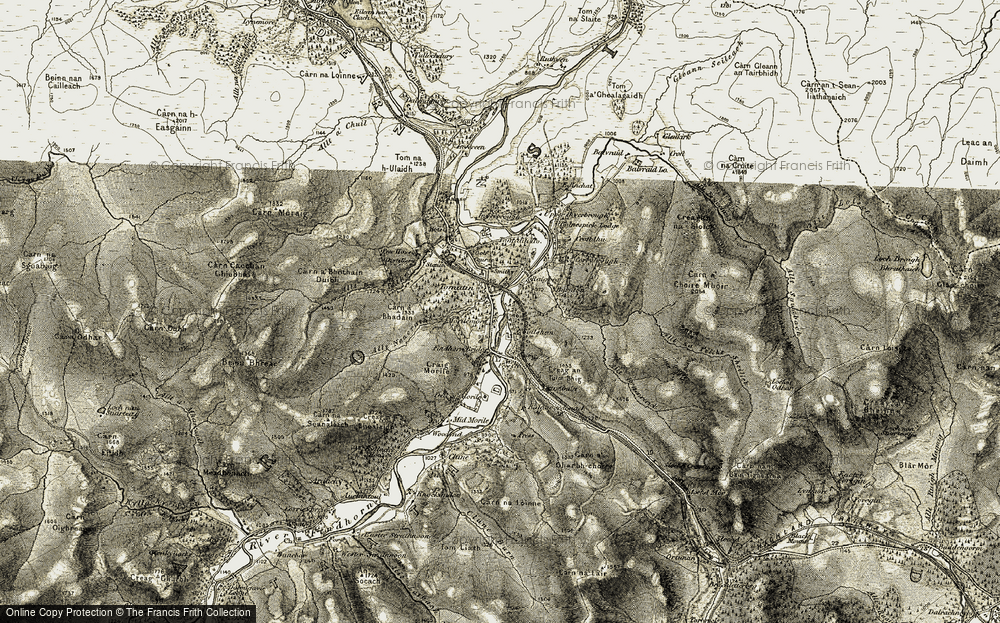 Old Map of Historic Map covering Allt Neacrath in 1908-1912