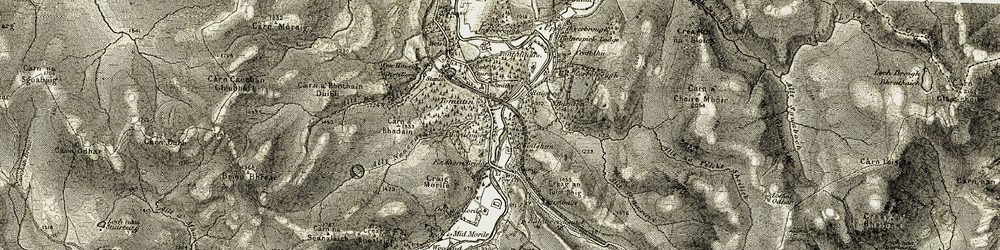 Old map of Tomatin in 1908-1912