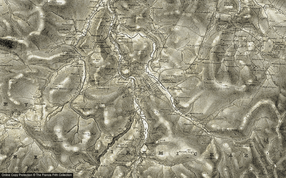 Old Map of Historic Map covering Auchriachan in 1908-1911