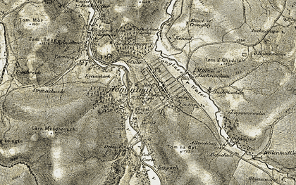 Old map of Tom a' Chadalair in 1908-1911