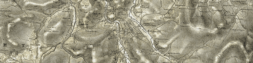 Old map of Tomintoul in 1908-1911