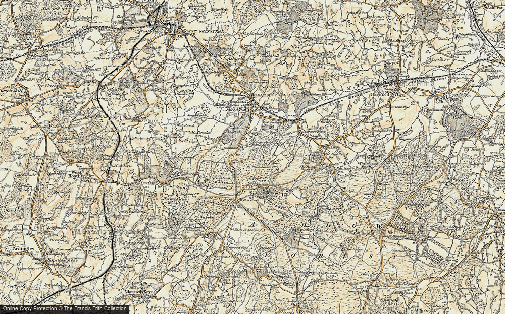 Old Map of Historic Map covering Ashdown Park (Hotel) in 1898