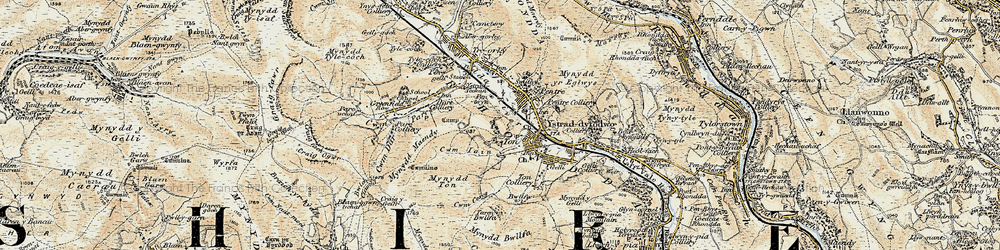 Old map of Ton Pentre in 1899-1900