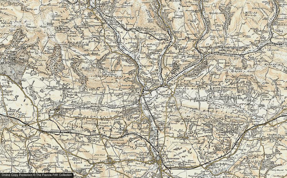 Old Map of Tondu, 1900 in 1900