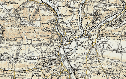 Old map of Tondu in 1900