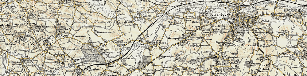 Old map of Tone Green in 1898-1900