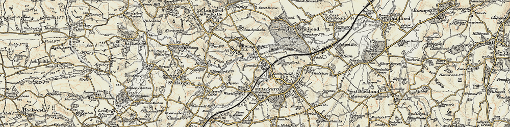 Old map of Tonedale in 1898-1900
