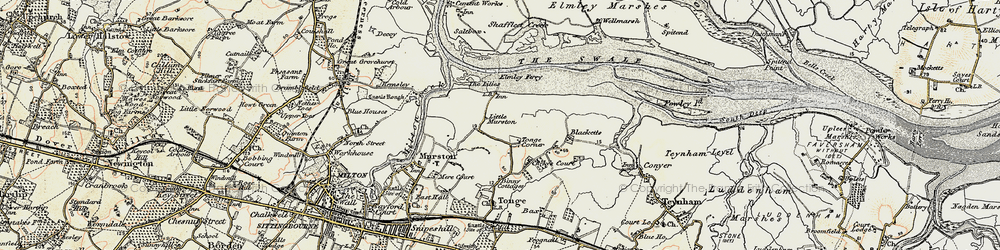 Old map of Tonge Corner in 1897-1898
