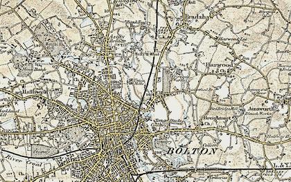 Old map of Tonge Moor in 1903