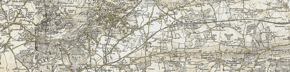 Old map of Tongham in 1898-1909