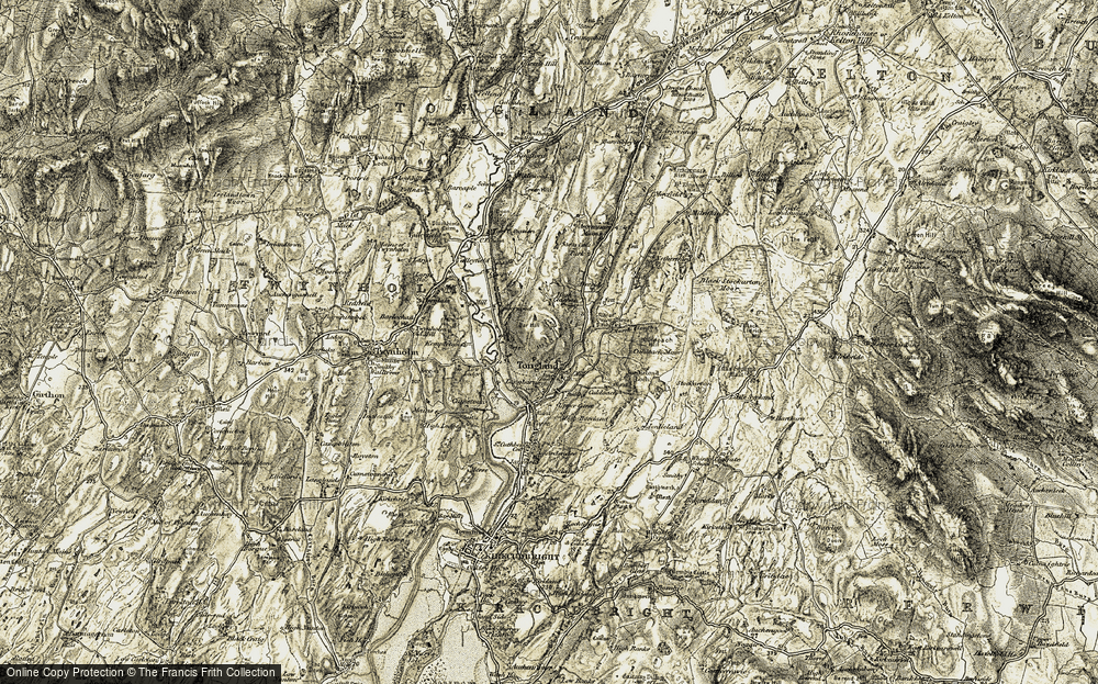 Old Map of Historic Map covering Tongland Br in 1905