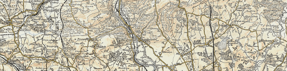Old map of Tongwynlais in 1899-1900