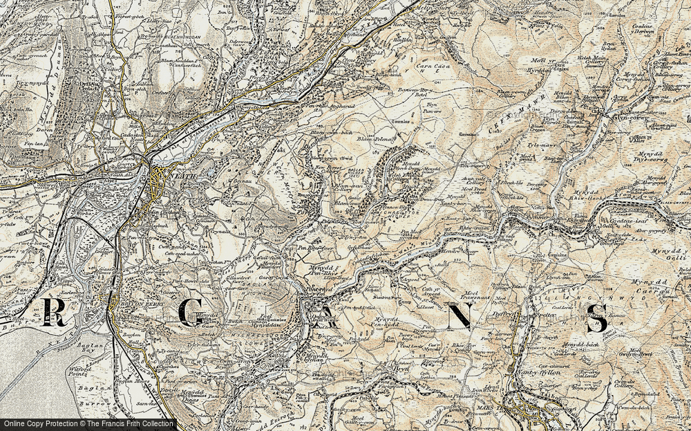 Old Map of Historic Map covering Afon Pelenna in 1900-1901