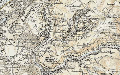 Old map of Afon Pelenna in 1900-1901