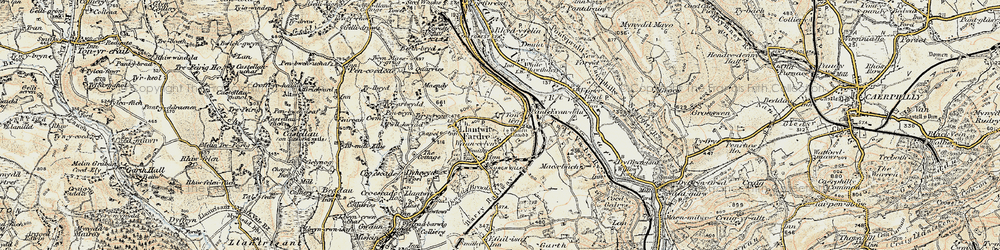 Old map of Tonteg in 1899-1900