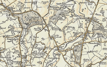 Old map of Tonwell in 1898-1899