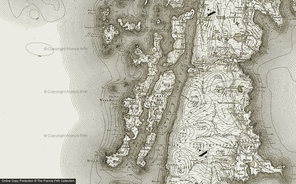 Old Map of Historic Map covering Lang Sound in 1911-1912