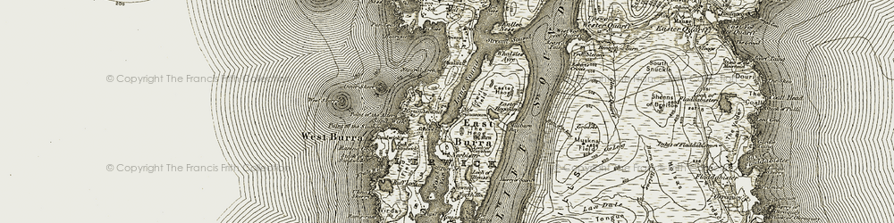 Old map of Whalsies Ayre in 1911-1912