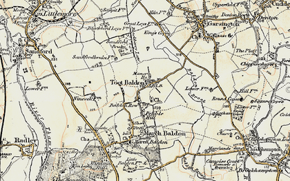 Old map of Toot Baldon in 1897-1899