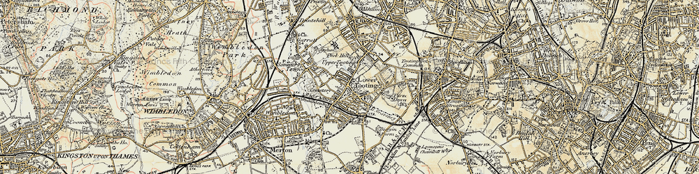 Old map of Tooting in 1897-1909