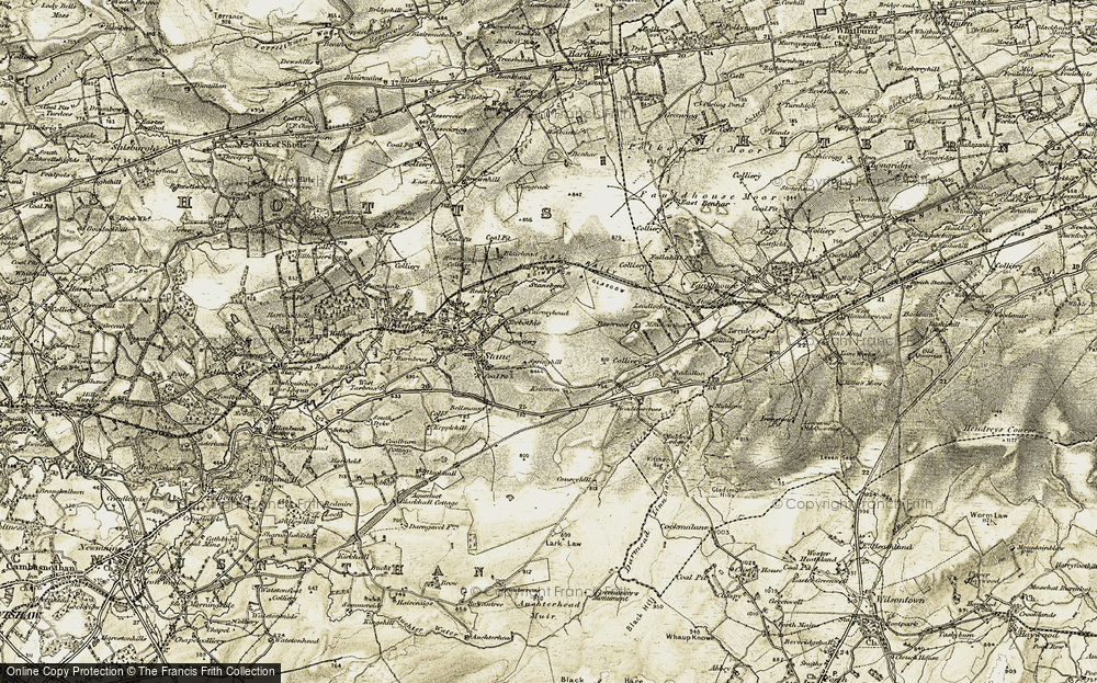 Old Map of Historic Map covering Lingore Linn in 1904-1905