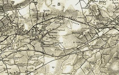 Old map of Lingore Linn in 1904-1905