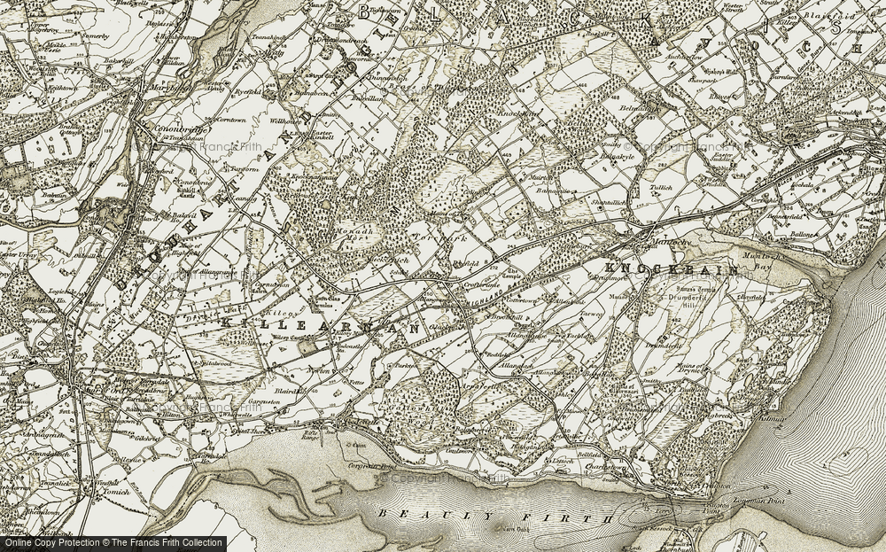 Old Map of Historic Map covering Allanbank in 1911-1912