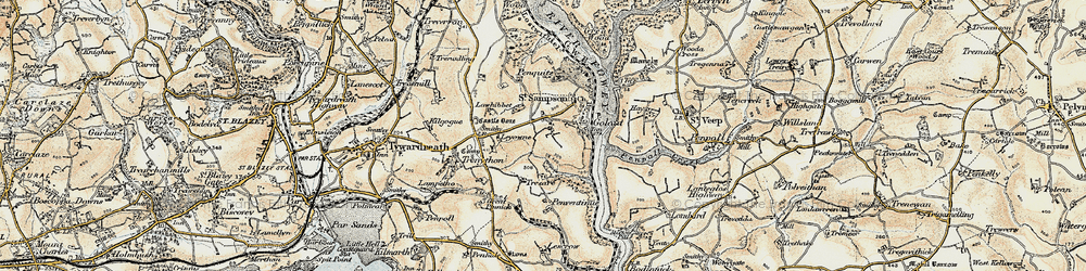 Old map of Leyonne in 1900