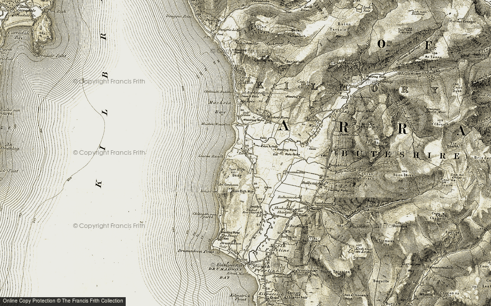 Old Map of Historic Map covering Leacan Ruadha in 1905-1906