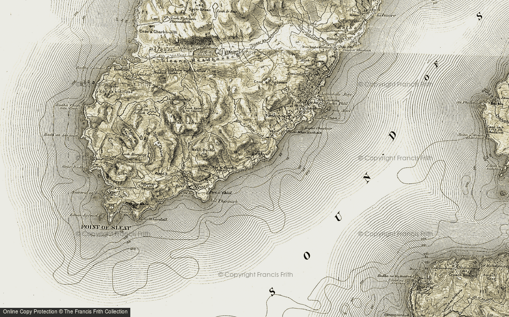 Old Map of Historic Map covering Allt a' Cham-aird in 1906-1908