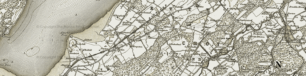 Old map of Wester Dalziel in 1911-1912