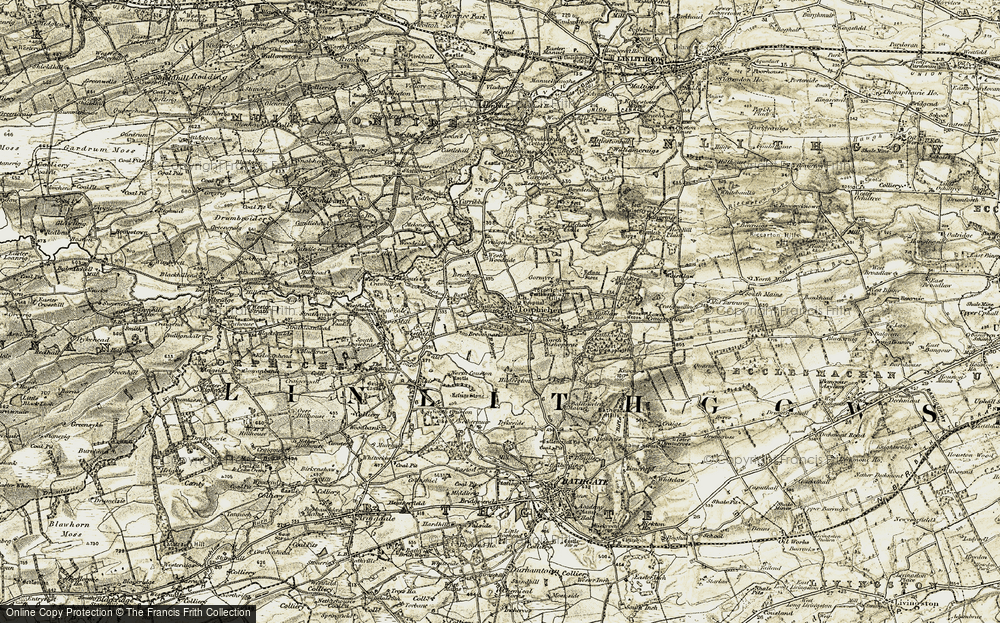 Old Map of Historic Map covering Wester Woodside in 1904