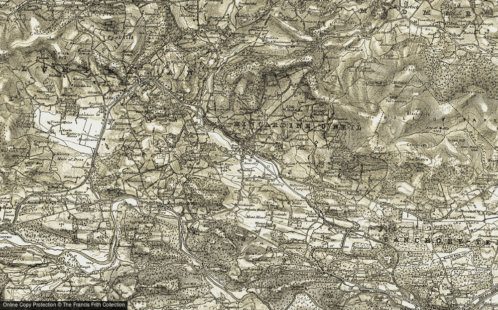 Old Map of Historic Map covering Tillyneckle in 1908-1909