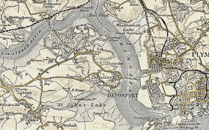 Old map of Torpoint in 1899-1900