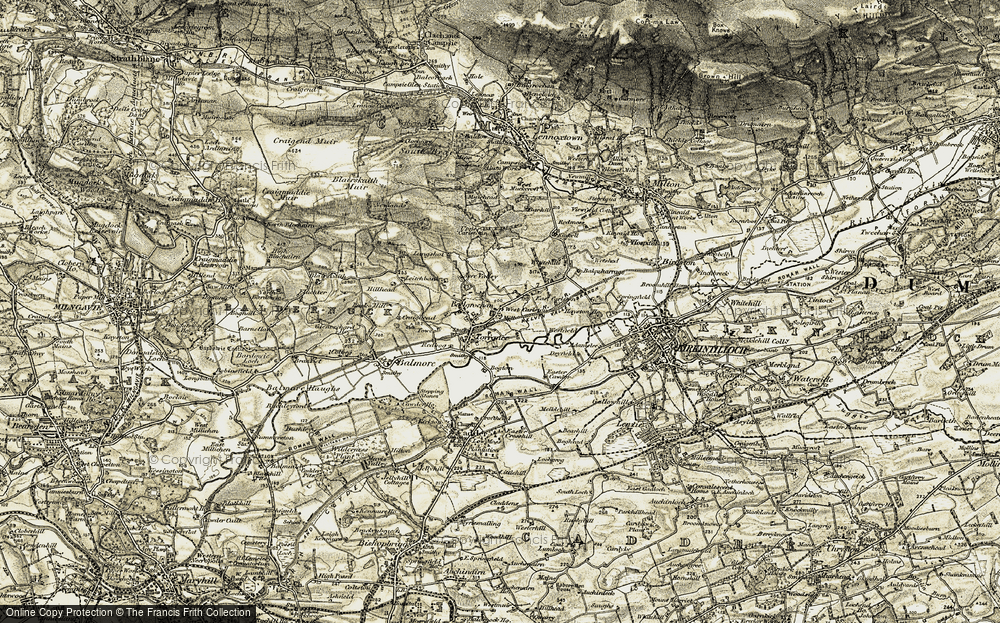 Old Map of Historic Map covering Balgrochan in 1904-1907