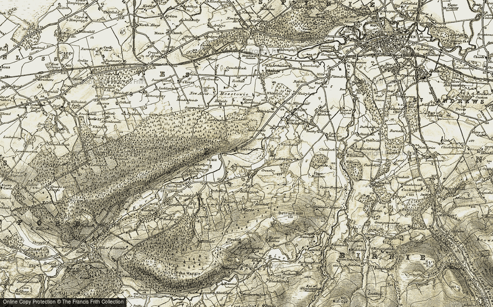 Old Map of Historic Map covering Auchtertyre in 1910-1911
