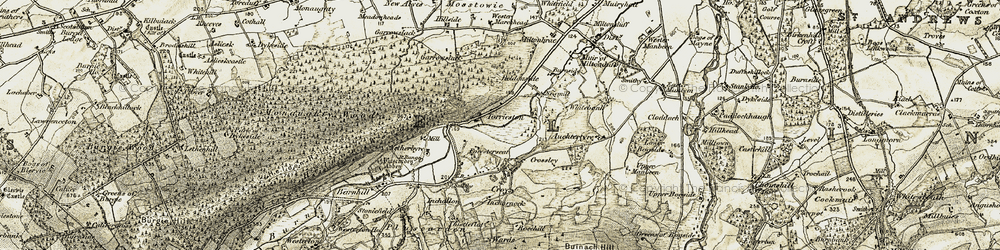Old map of Tom Ruadh in 1910-1911