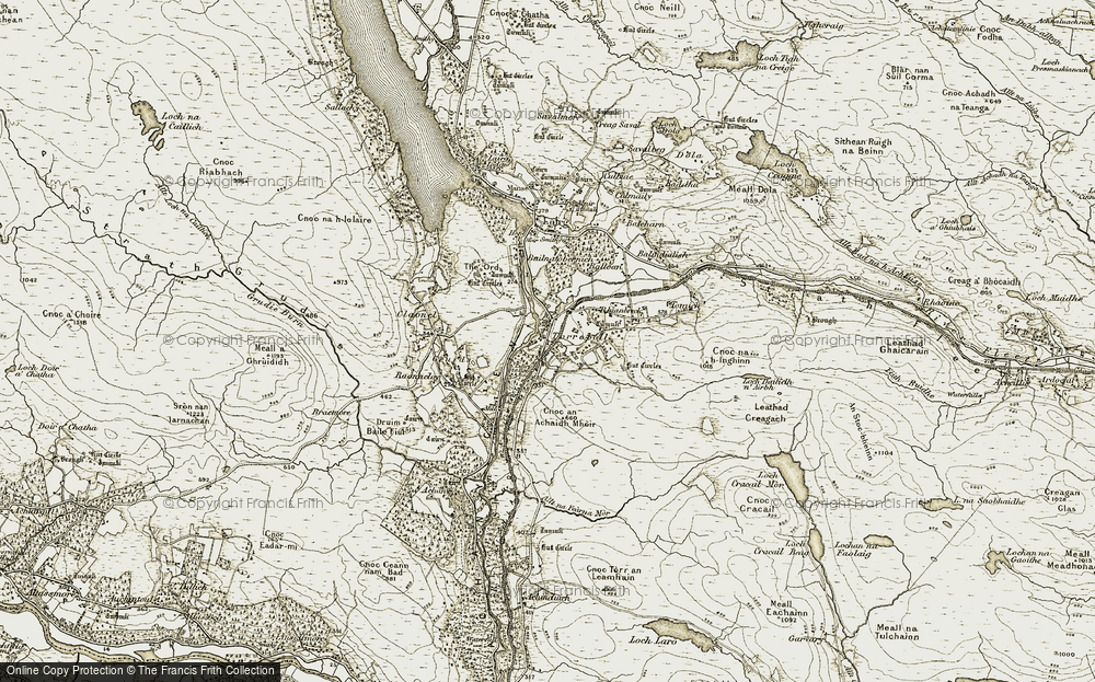 Old Map of Historic Map covering Allt na Fearna Mòr in 1910-1912