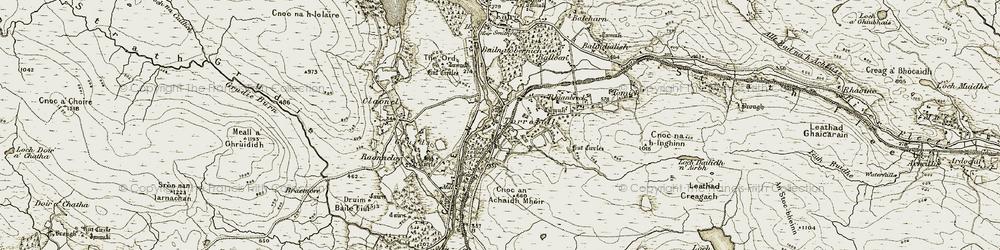 Old map of Achany Glen in 1910-1912