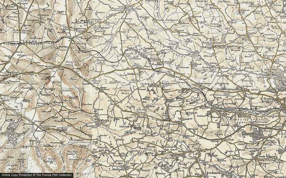 Old Map of Historic Map covering Badgall Downs in 1900