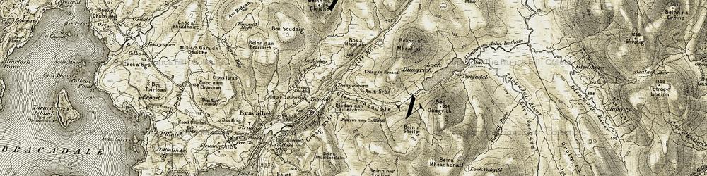 Old map of Leacan Nighean an t-Siosalaich in 1908-1909
