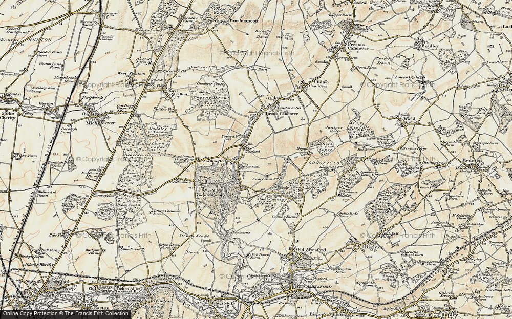 Old Map of Historic Map covering Abbotstone Down in 1897-1900